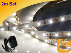 LED-Streifen Set 2m weiß + Netzteil