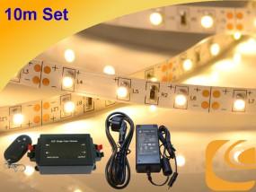 LED-Streifen Komplettset 10m warmweiß, Funkdimmer, Netzteil