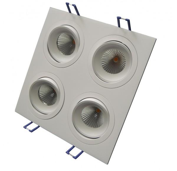 Modulrahmen 4Spots schwenkbar quadratisch weiß