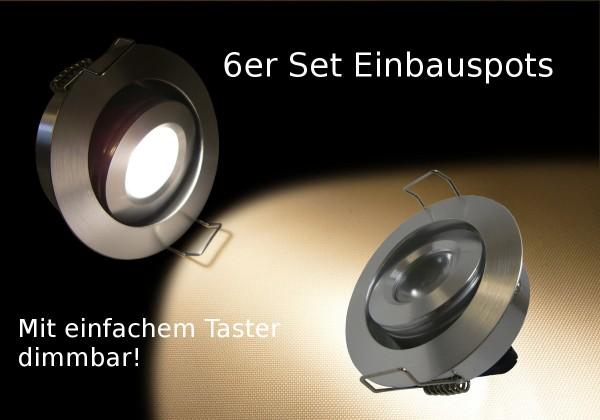 6er Set 2.5W LED Einbauspot rund warmweiß dimmbar