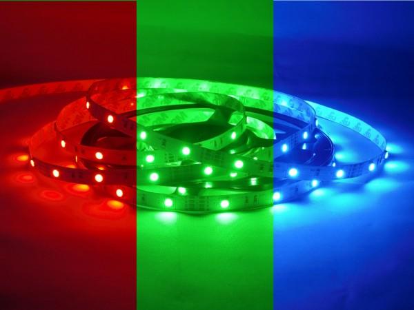 RGB LED-Streifen 30LEDs/m, 6W/m, 12V in Silikonhülle IP66 5m Rolle
