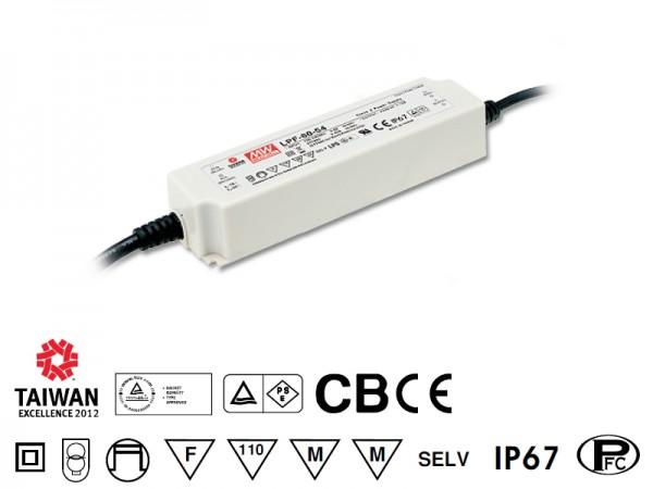 LED-Möbeleinbaunetzteil 24V, 60W, 2.5A, MM, IP67