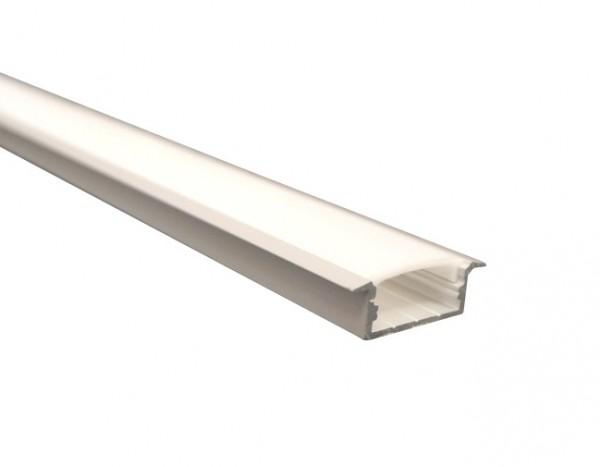 LED-Alu-Profil D-Line flach, Einbau mit Abdeckung