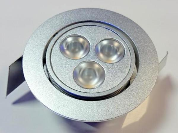 3x1W LED Einbauspot warmweiß 45°