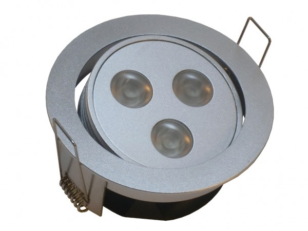 3x2.3W LED Einbauspot Alu rund schwenkbar warmweiß 45°