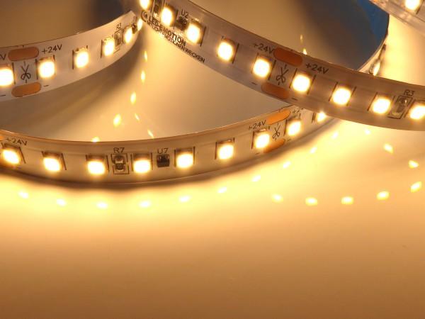 Premium HD HE LED-Streifen, 2700K warmweiß, 2400lm/m, 19,2W/m, 140LEDs/m, 24V, 5m Rolle