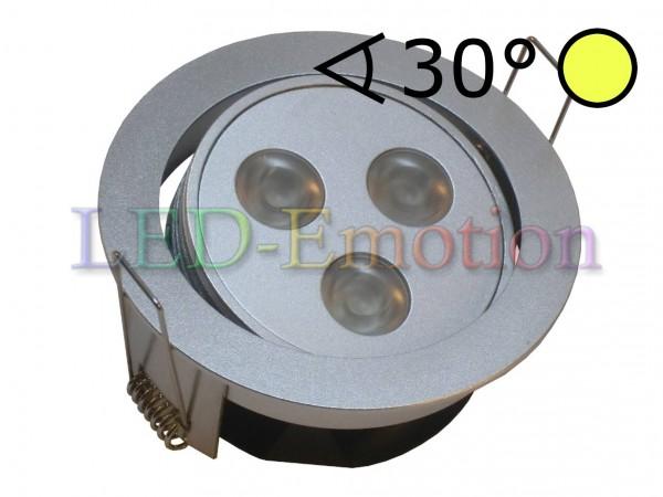 3x3W LED Einbauspot Alu rund kardanisch warmweiß 30°