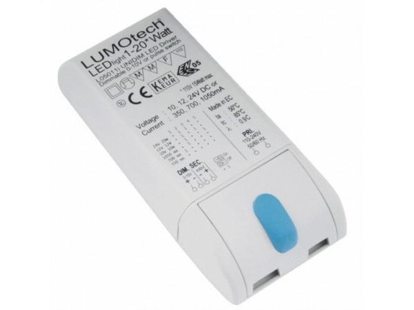 LED Möbeleinbaunetzteil 20W 350/700mA Konstantstrom dimmbar