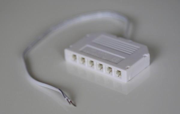 6er Mini-Verteilerbox mit 0,25m Kabel, weiß