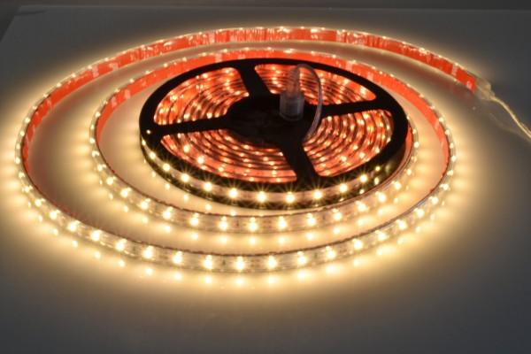 LED-Streifen in PVC-Hülle IP65, 60LEDs/m, 5m Rolle, warmweiß CRI>80 12V