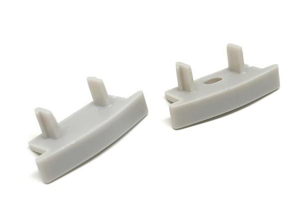 Endkappen-Set LED-Alu-Profil C-Line flach Einbau