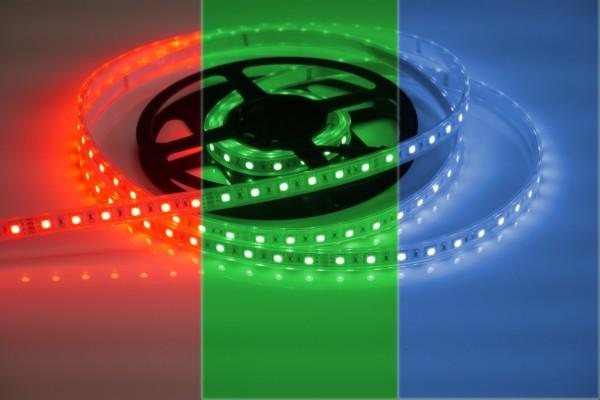 RGB LED-Streifen 60LEDs/m, 10,8W/m, 24V in Silikonhülle IP66 5m Rolle
