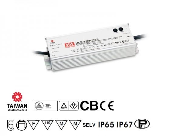LED-Netzteil Möbeleinbau 12V DC, 120W, 10A, F, MM, IP65, wasserdicht