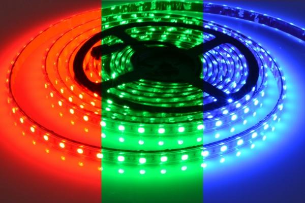 RGB LED-Streifen 60LEDs/m, 10,8W/m, 24V in PVC-Hülle IP65 5m Rolle