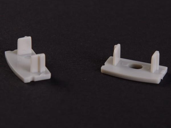 Endkappen-Set LED-Alu-Profil C-Line flach Aufbau