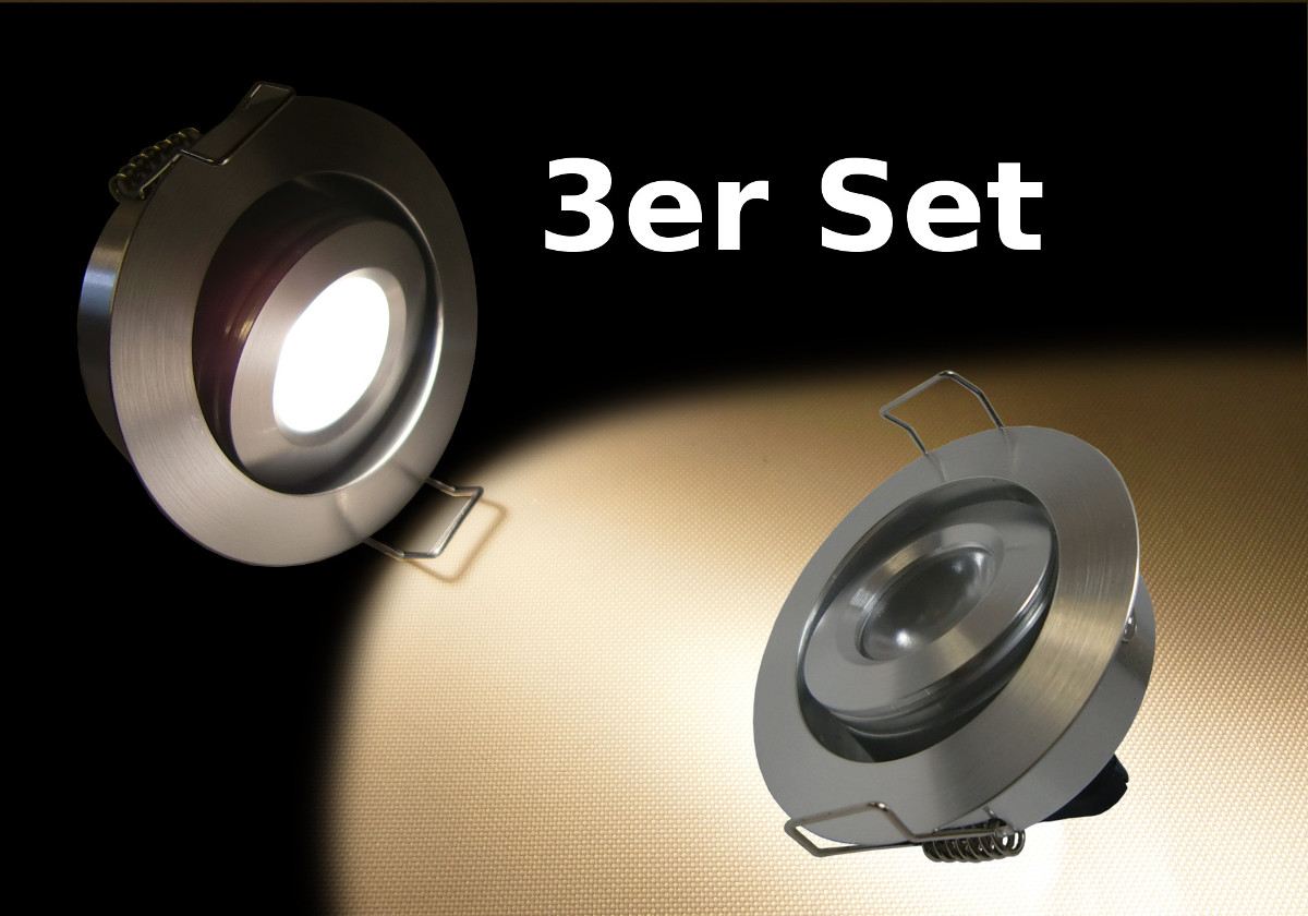deckeneinbau led spots rund dimmbar im 3er set led emotion. Black Bedroom Furniture Sets. Home Design Ideas
