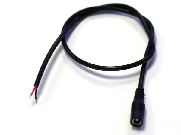 50cm Anschlusskabel schwarz mit Hohlbuchse 2,1/5,5mm 22AWG