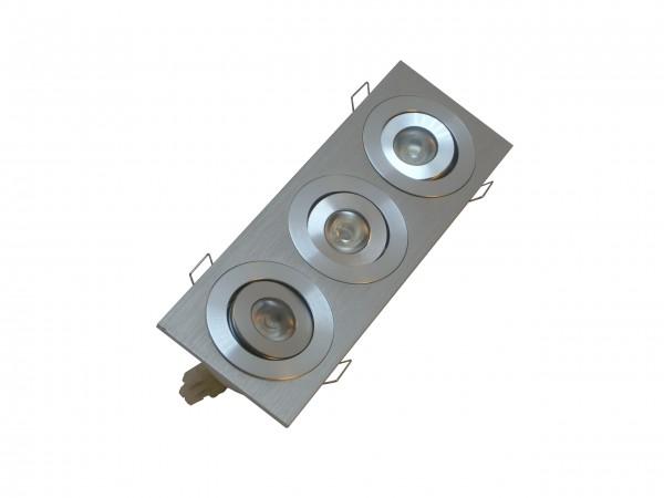 LED Einbauspot Rahmen 3-flammig Alu gebürstet rechteckig