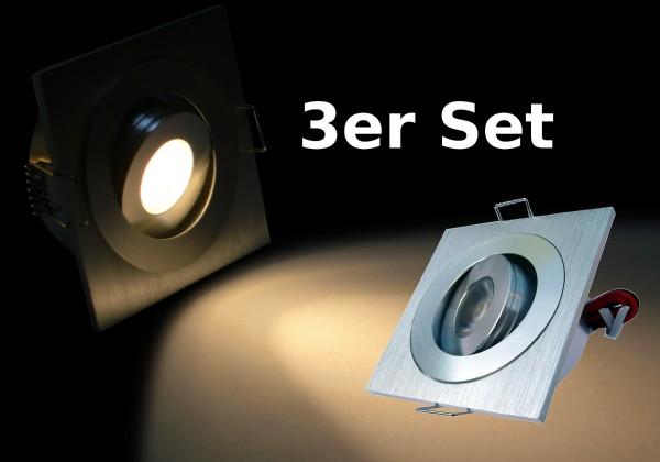 3er Set LED Einbauspot quadratisch warmweiß dimmbar