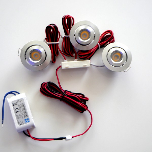 3er Set 2.3W LED Einbauspot rund warmweiß nicht dimmbar
