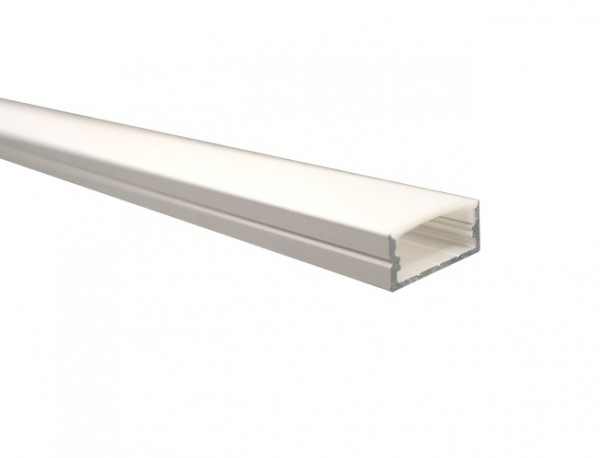LED-Alu-Profil D-Line flach, Aufbau mit Abdeckung