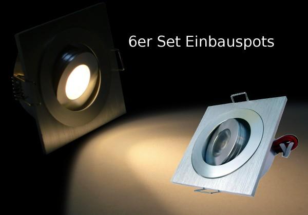6er Set 2.3W LED Einbauspot quadratisch warmweiß