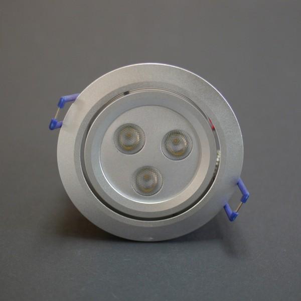 LED Einbauspot rund eloxiertes Alu 3x2,5W Cree XP-E warmweiß 700mA