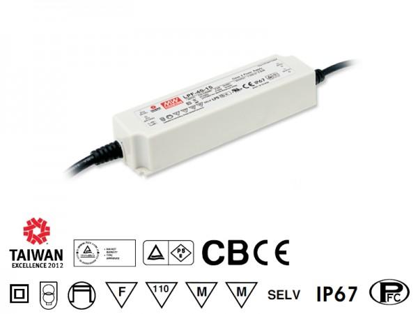 LED-Möbeleinbaunetzteil 24V, 40W, 1.67A, MM, IP67