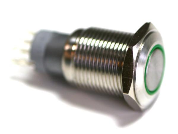 Taster Edelstahl IP65 bündig 16mm beleuchtet 5V LAS2GQF-11E/G/5V/S